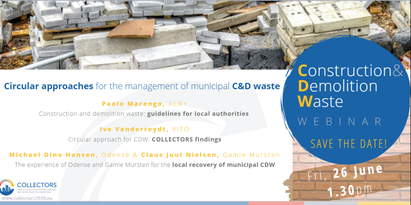 Webinar recording on circular approaches for the management of municipal construction and demolition waste now available